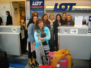 LOT employees: Teresa, Ania, Basia, Joanna, Magdalena, Mariola; and Pauline with her mom Dorothy at Chicago/O'Hare International Airport.